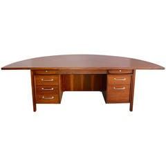 Mid-Century Walnut Demilune Executive Desk