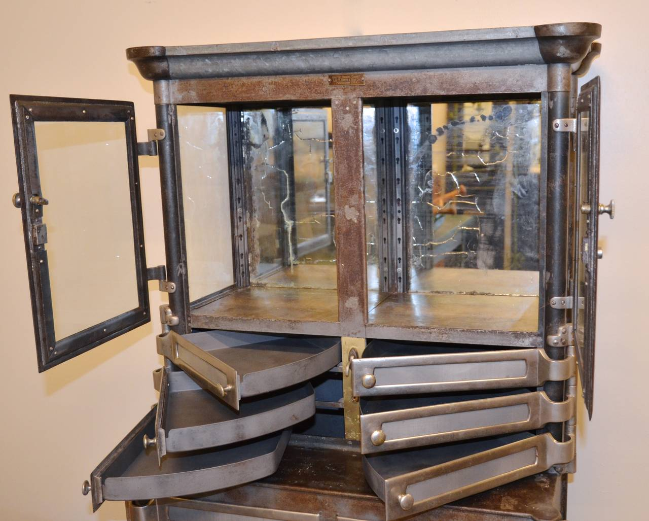 Incroyable Victorian Nickel And Steel Aseptic Dental Cabinet, Lee S. Smith Co., Circa