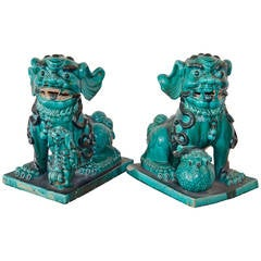 Large Aqua Foo Dogs, Late 1800s, China