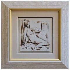 Sepia Female Nude, Ink Wash 4 of 4, by George Schwacha Jr., 1934