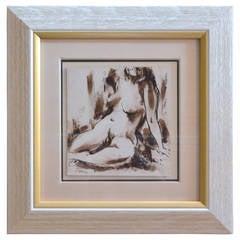 Sepia Female Nude, Ink Wash 1 of 4, by George Schwacha Jr., 1934