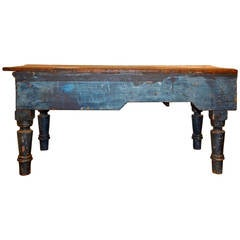 19th Century Blue Work Island with Wood Top