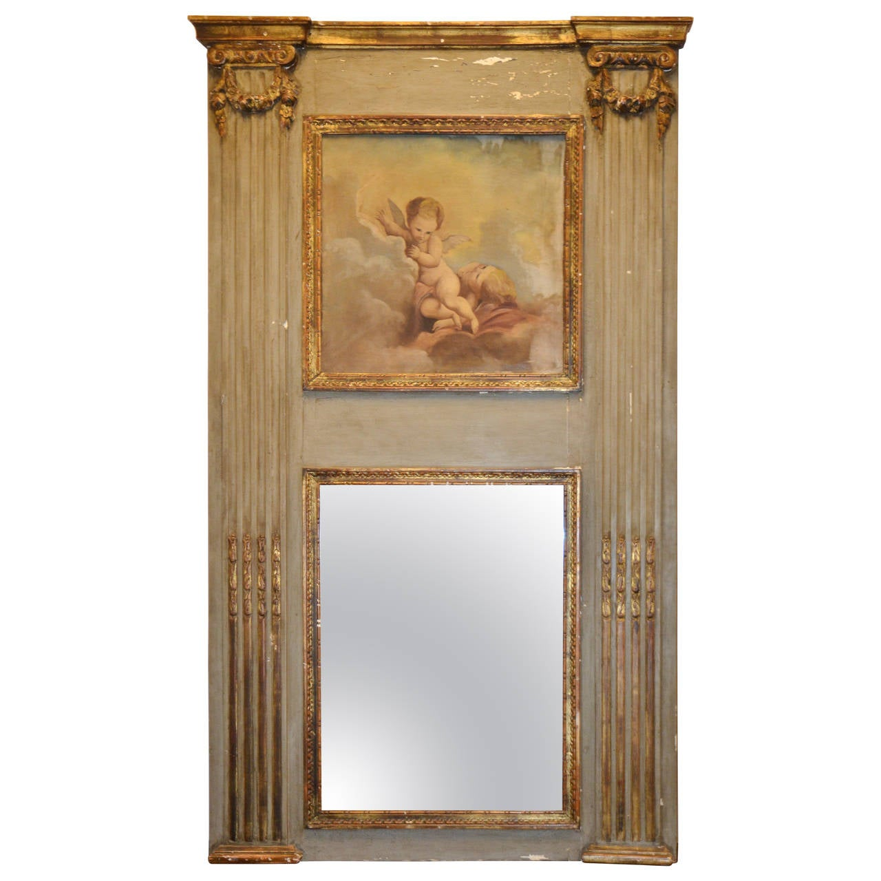 Louis XVI French Trumeau Parcel-Gilt Mirror