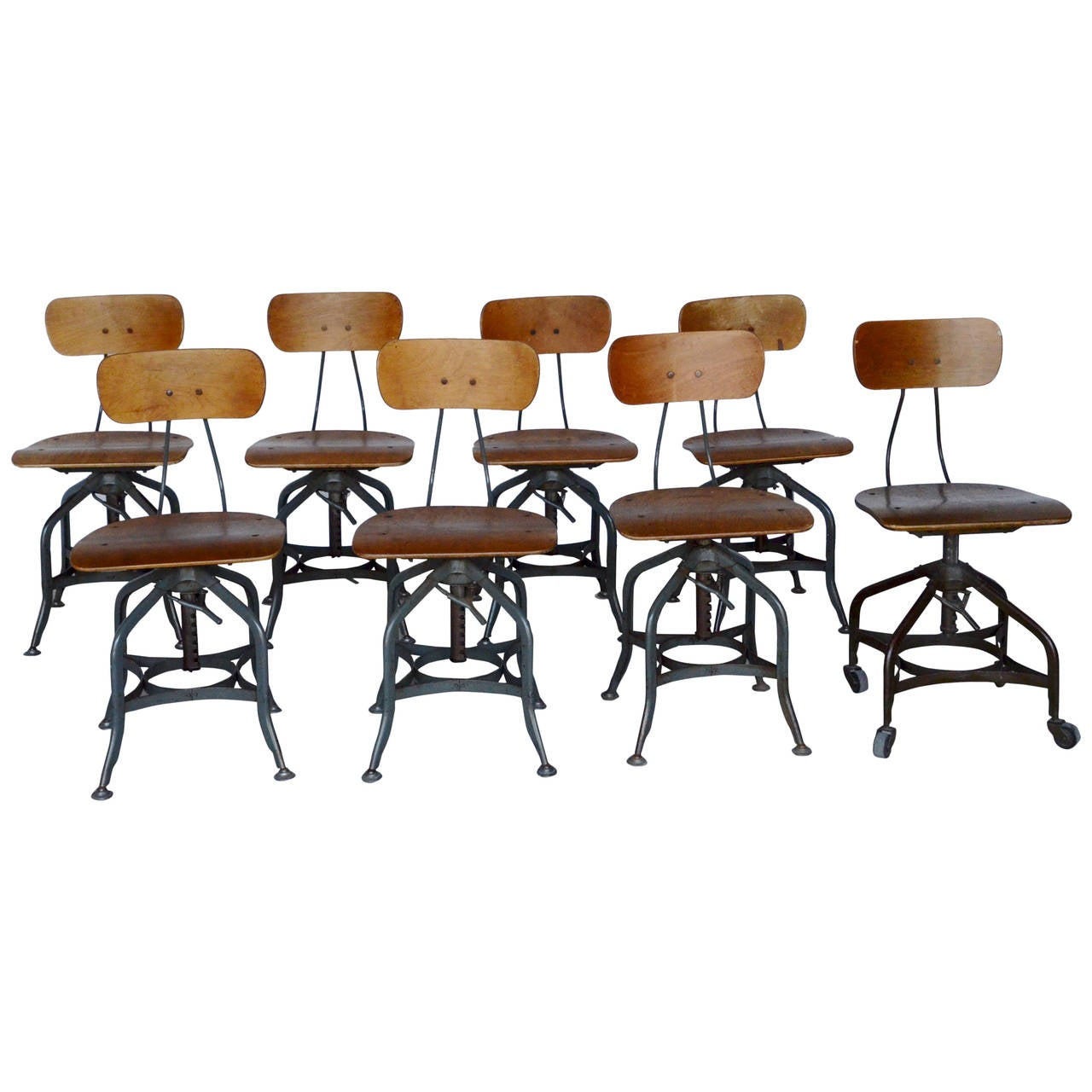 Eight Industrial Toledo Swivel Chairs By Uhl Steel At 1stdibs