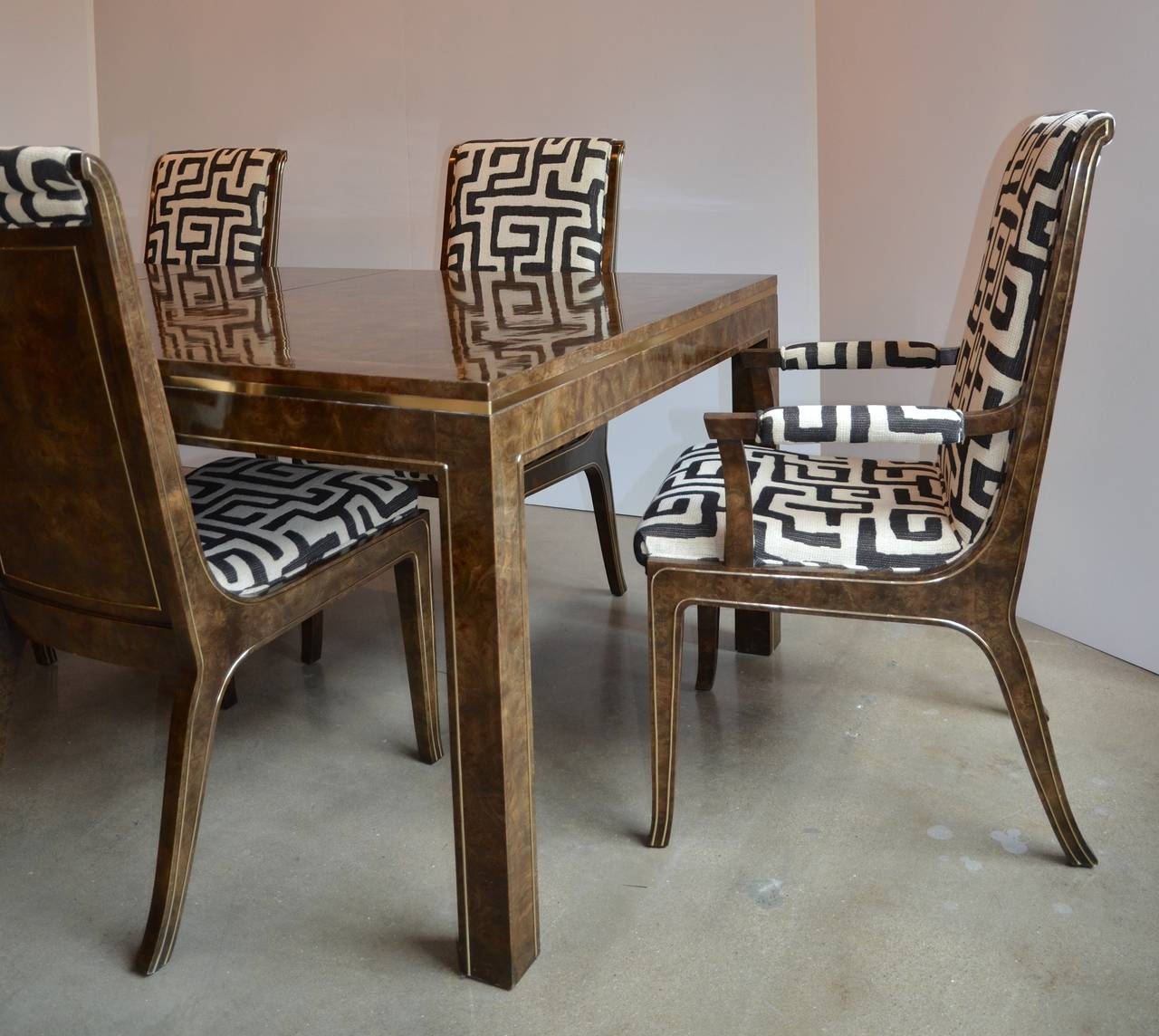 Bernhard Rohne For Mastercraft Burled Parsons Dining Table
