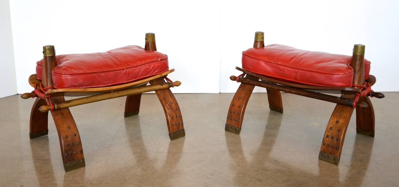 Camel Saddle Stools or Ottomans in Red Leather 2 & Camel Saddle Stools or Ottomans in Red Leather at 1stdibs islam-shia.org