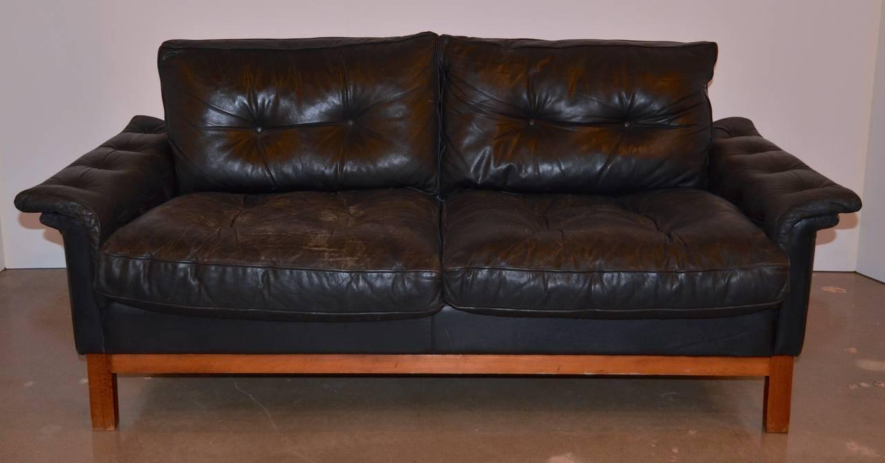 midcentury black tufted leather loveseat danish 2