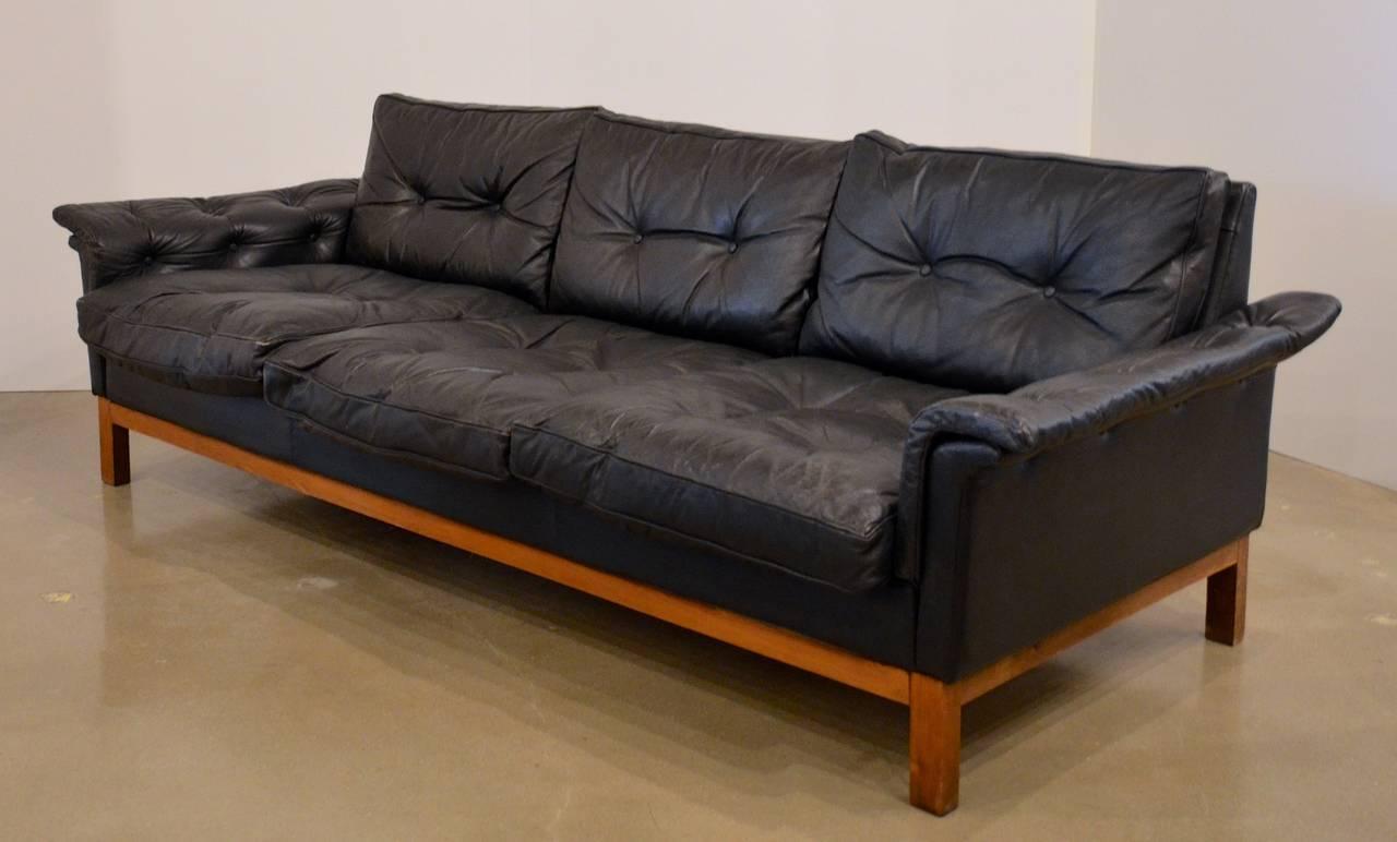 Mid Century Black Tufted Leather Sofa Danish At 1stdibs