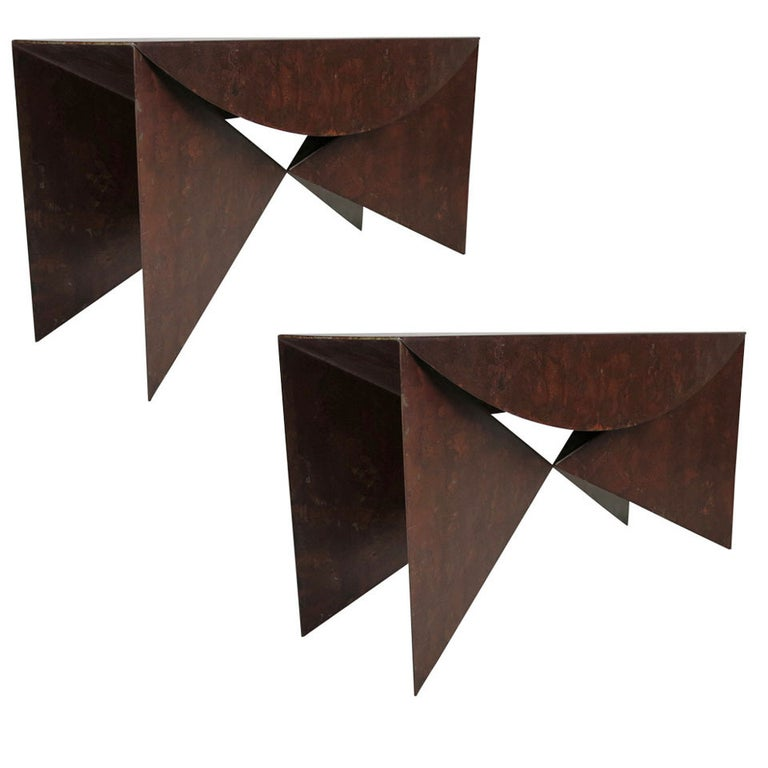 """Custom Pair of Patinated Steel """"Origami"""" Consoles For Sale"""