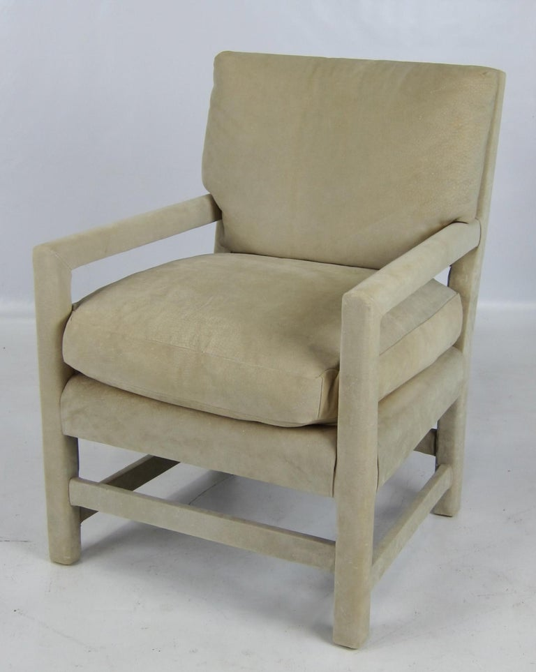Pair of Suede Lounge Chairs by Billy Gaylord In Excellent Condition For Sale In San Leandro, CA