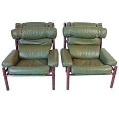 Pair of Mid-Century Modern Inca Chairs by Arne Norell