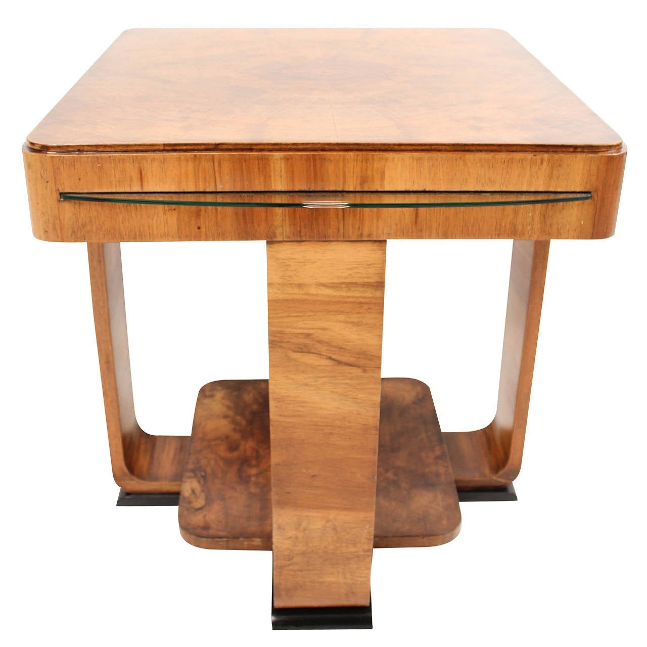 rare french art deco walnut coffee table at 1stdibs. Black Bedroom Furniture Sets. Home Design Ideas