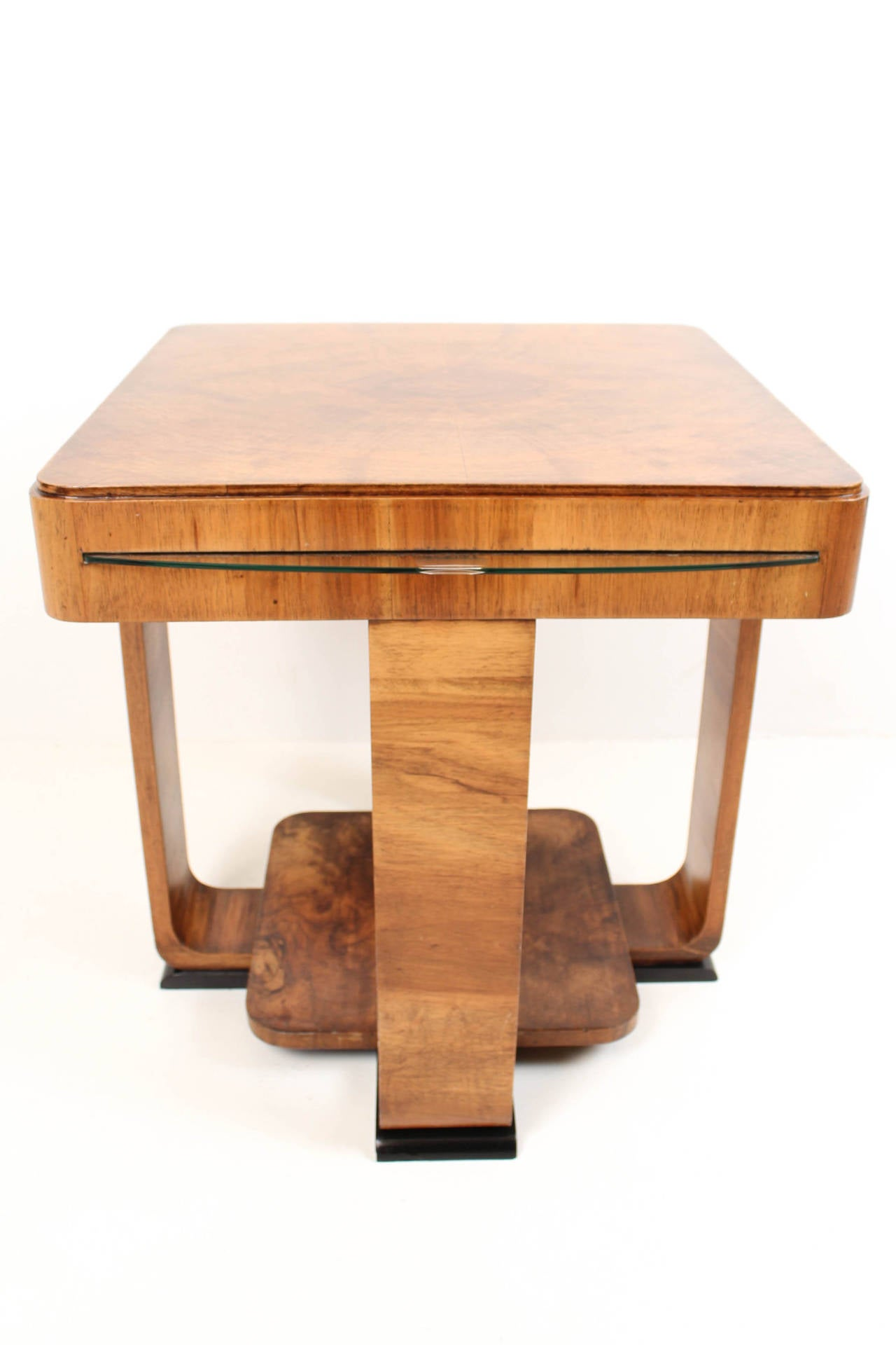 Rare French Art Deco Walnut Coffee Table At 1stdibs