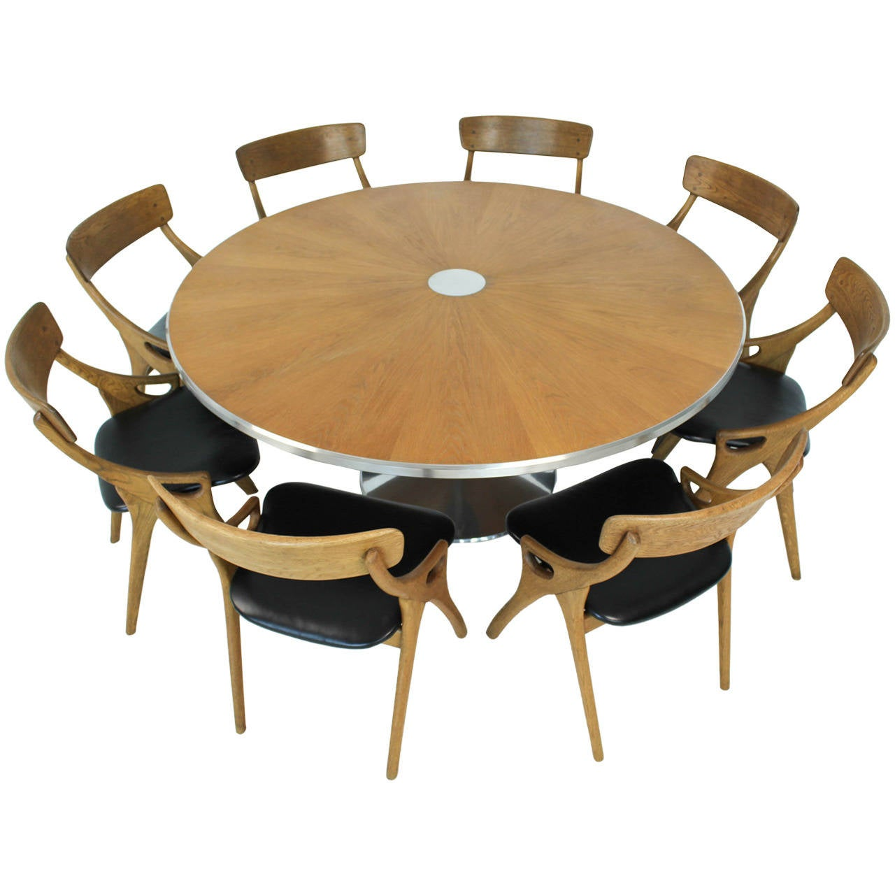 Mid century modern pedestal dining table by poul cadovius at 1stdibs