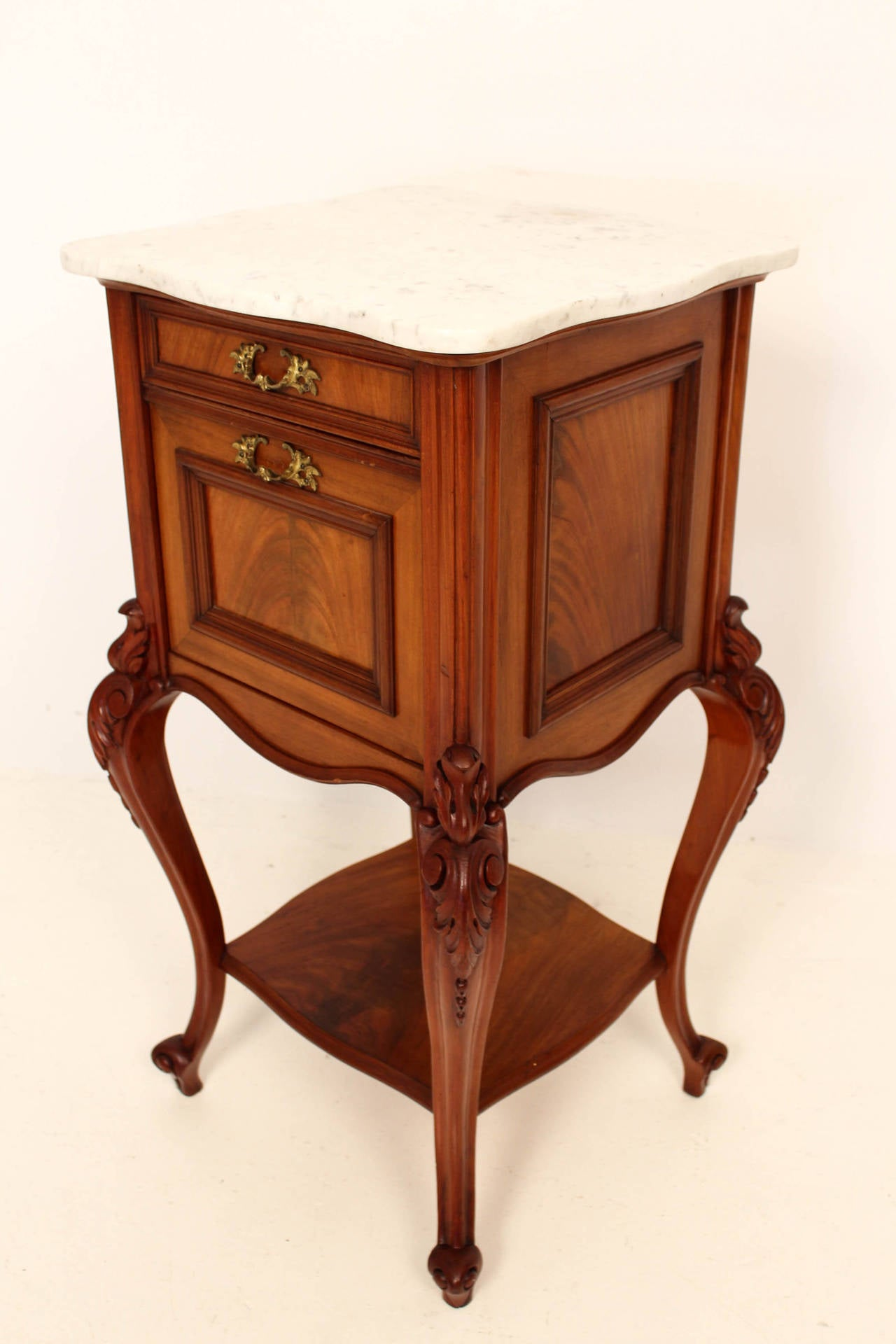 French Louis Xv Night Stand With Original Marble Top At