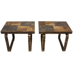Rare Pair Of Brutalist Occasional Tables In The Style Of Kingma