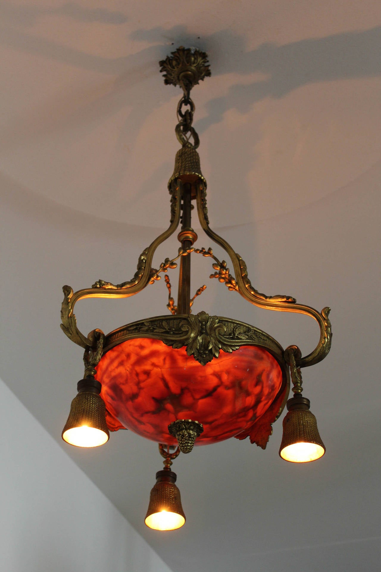 Stunning French Gilt Bronze And Alabaster Chandelier For Sale at