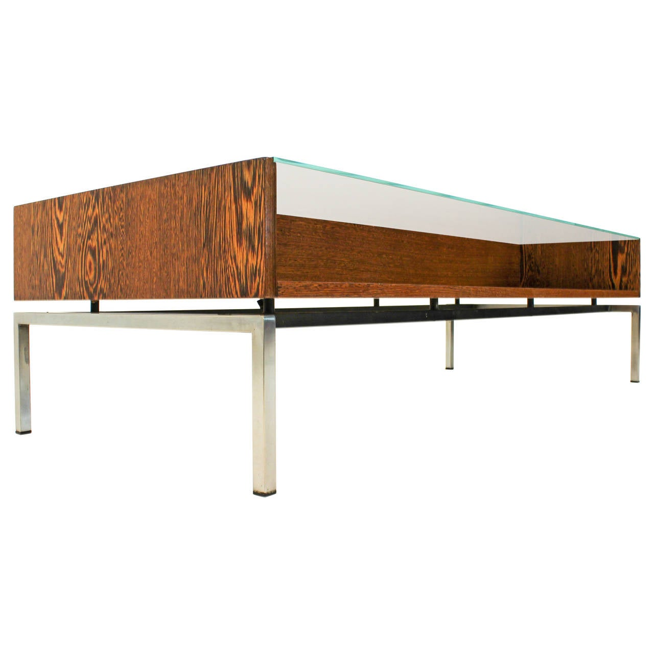 Stylish Mid Century Modern Coffee Table With Glass Top 1960s At 1stdibs