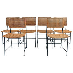 Rare Set of Six Rattan and Wire Chairs by Herta-Maria Witzemann