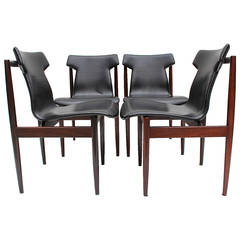 Set of four rosewood chairs by Inger Klingenberg for Fristho