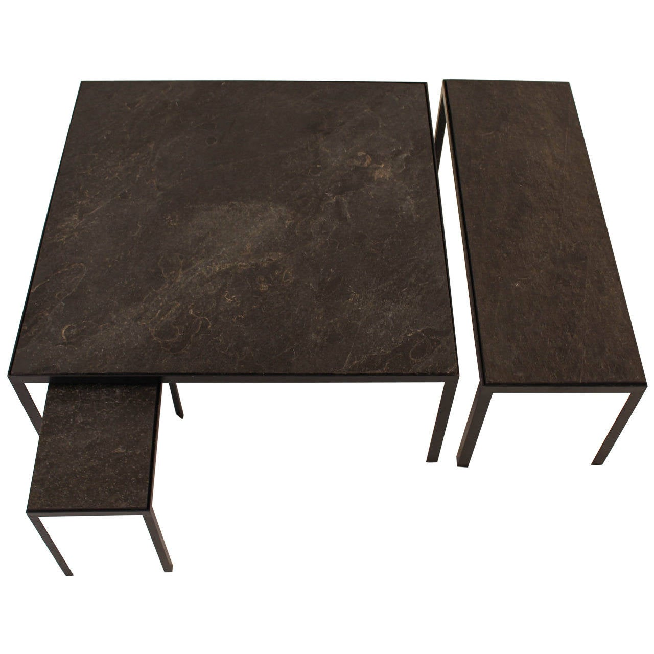 Nice Set Of Three Mid Century Modern Coffee Tables With Slate Tops At 1stdibs