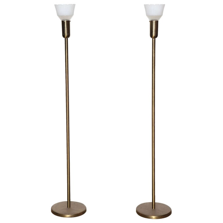 Pair of Nessen Studios 907 Brass Floor Lamps with Milk Glass Liner Shades, 1940s