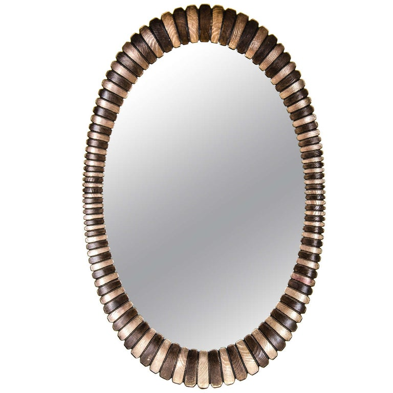 Oval Wall Mirror in Decorative Finish