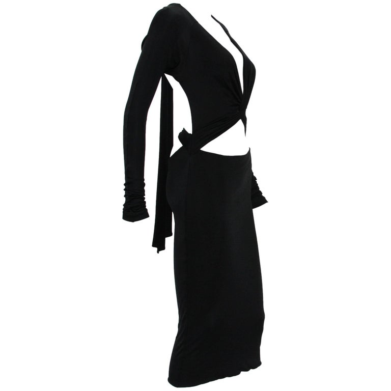 Tom Ford for Gucci Sexy Cut Out Jersey Black Cocktail Dress M, 1990s