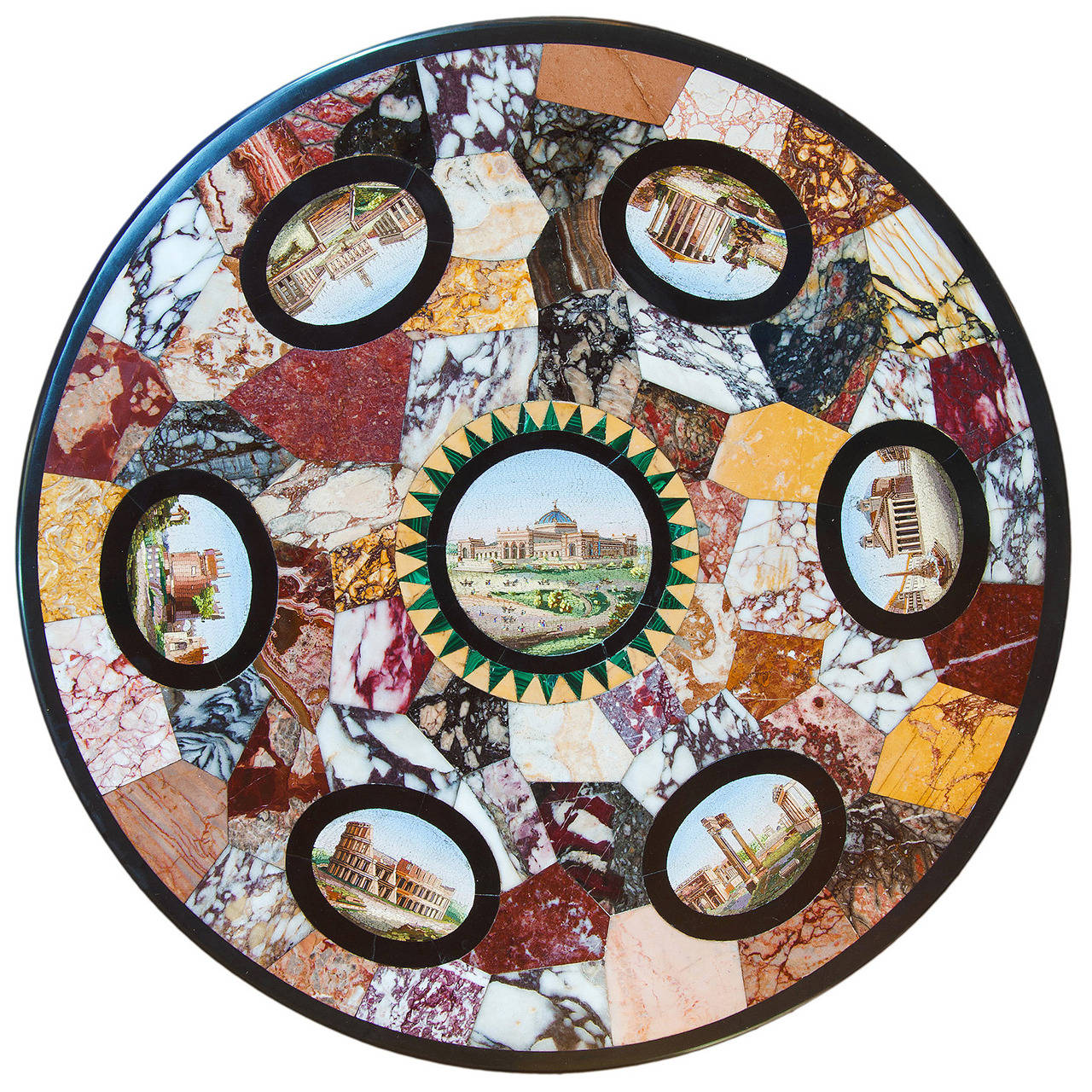 Marble table top - Rare 1876 Micro Mosaic And Specimen Marble Table Top From The Us Centennial Expo 1
