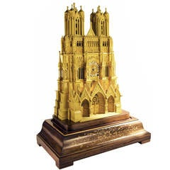 Magnificent c. 1835 gilded bronze model of Rheims Cathedral, France