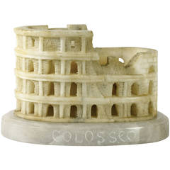 Rare Grand Tour Carved Alabaster Model of the Colosseum, Rome
