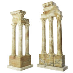 Pair Grand Tour Stone Models of Temples of Vespasian and Castor & Pollux, Ro