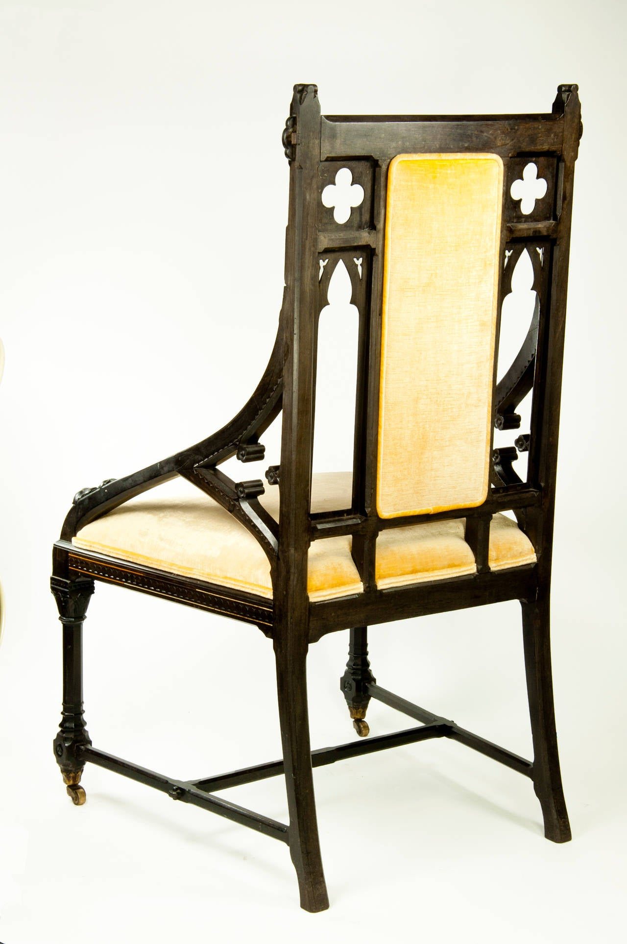 Gothic furniture chair - Splendid Pair Of Gothic Revival Chairs Ebony With Ivory Inlay Circa 1862 3