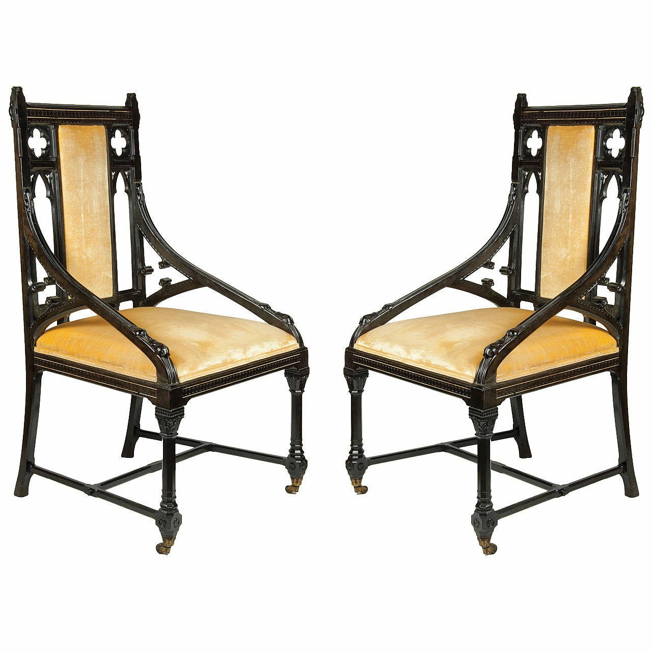 Splendid Pair of Gothic Revival Chairs, Ebony with Ivory Inlay, circa 1862