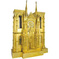 Magnificent c. 1835 gilded bronze model of  Rouen Cathedral France, circa 1830
