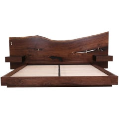 St. Pierre King Bed by Uhuru, Walnut Slab Headboard and Built in Nightstands