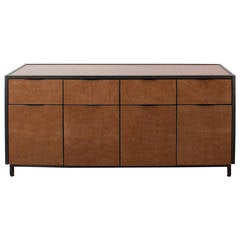 Cairns Credenza by Uhuru Design, Upholstered Leather and Hand-Blackened Steel