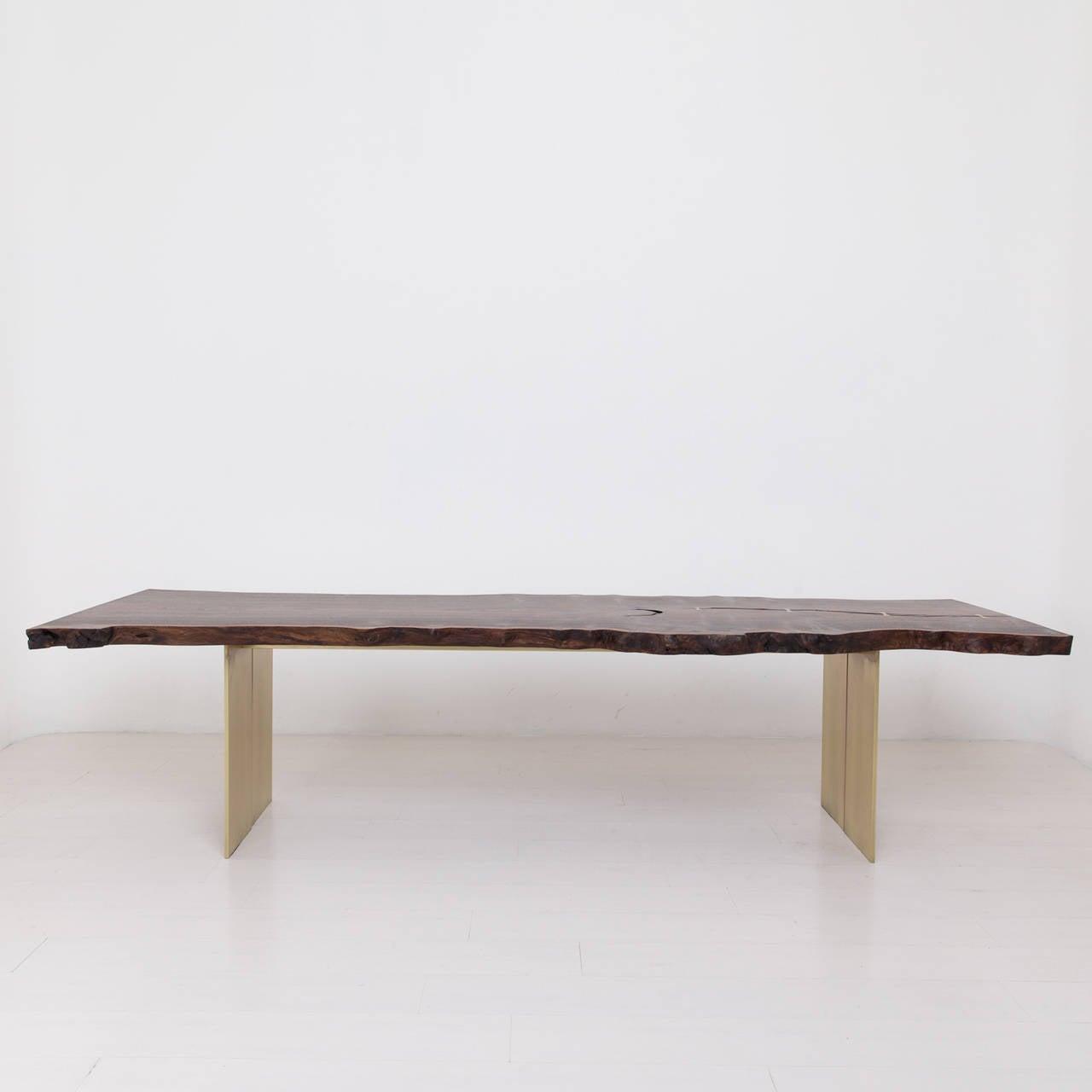 Milo Base Dining Table by Uhuru Design, claro walnut, brass 3