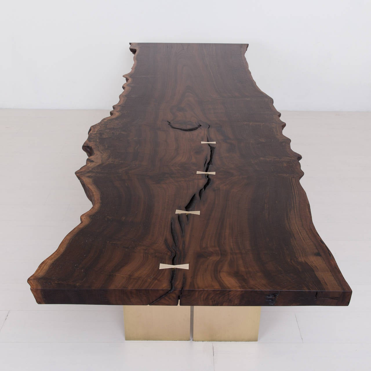 Milo Base Dining Table by Uhuru Design, Claro Walnut, Brass 4