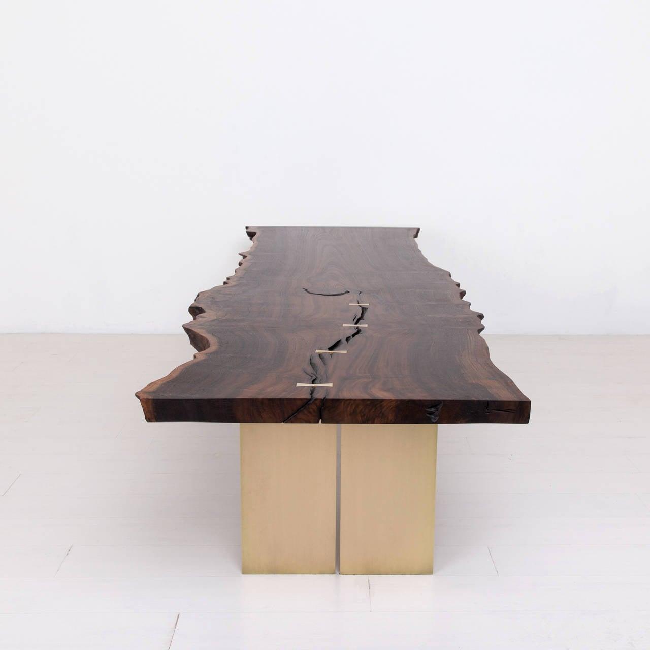 Milo Base Dining Table by Uhuru Design, claro walnut, brass 5