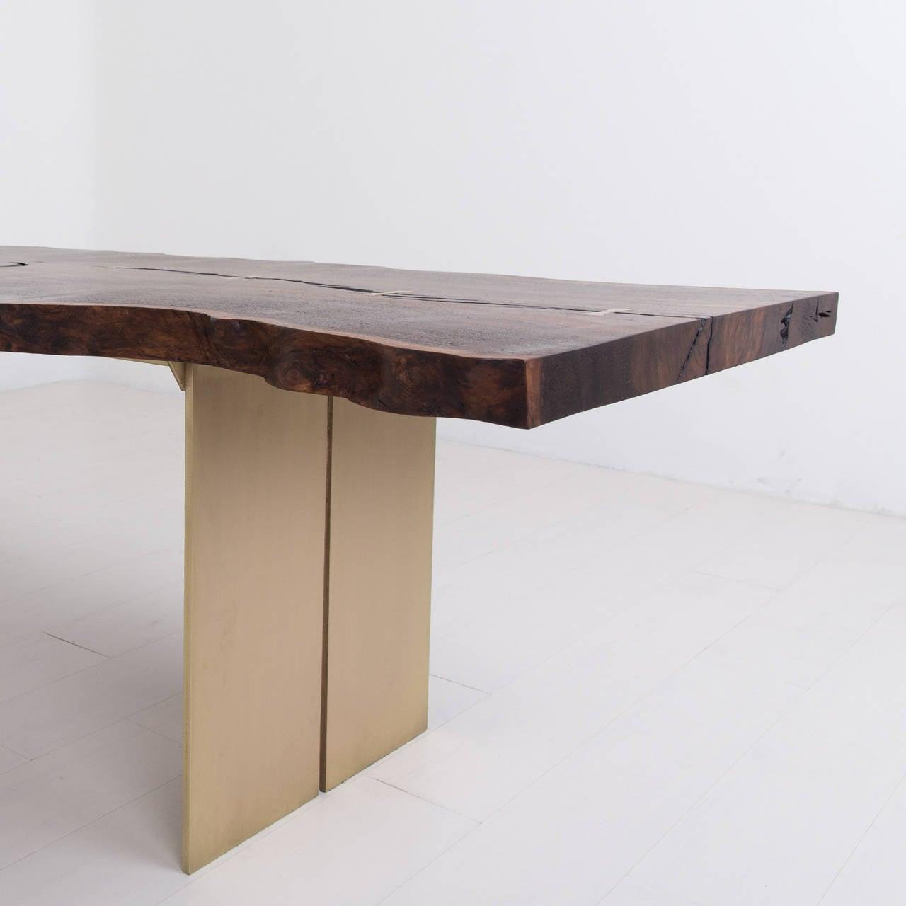 Milo Base Dining Table by Uhuru Design, Claro Walnut, Brass 6