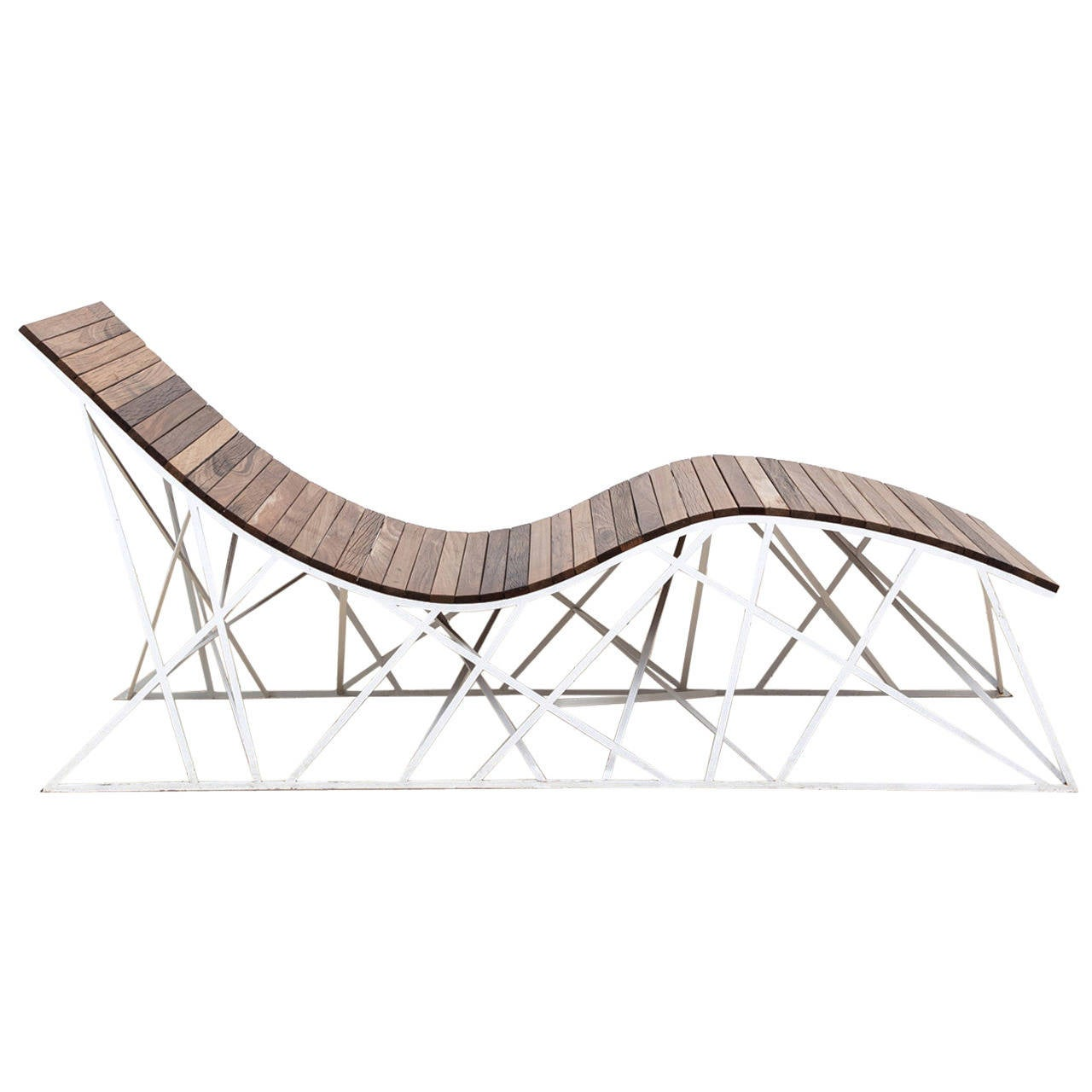 Cyclone chaise lounger by uhuru design reclaimed boardwalk ipe with steel base for sale