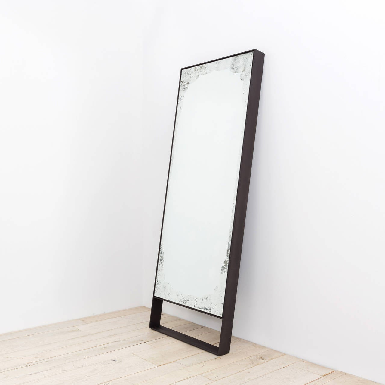 Antique mod mirror by uhuru design hand blackened steel for Black framed floor length mirror