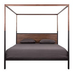Waterline Canopy Bed by Uhuru Design in Walnut and Black steel