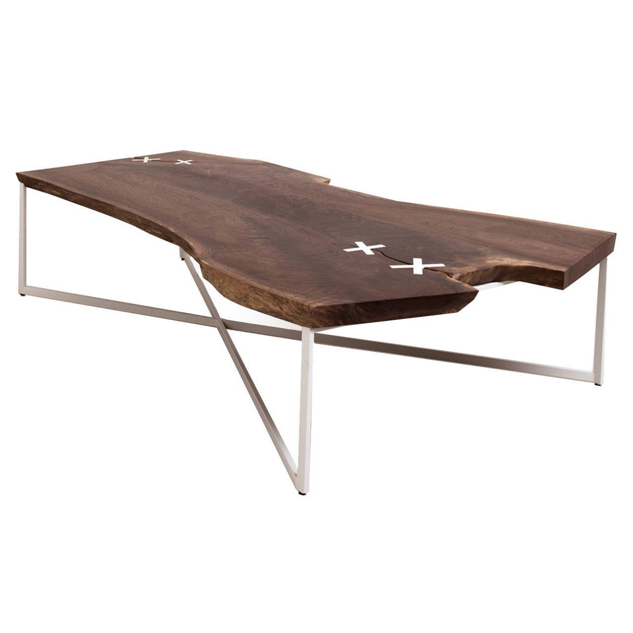 Stitch Coffee Table By Uhuru Design Claro Walnut Powder Coated Steel For Sale At 1stdibs