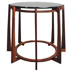 16/45 End Table by Uhuru Design, Reclaimed Teak, Glass