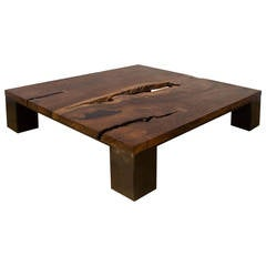 Kong Coffee Table by Uhuru Design, Claro Walnut, Hand Blackened Steel