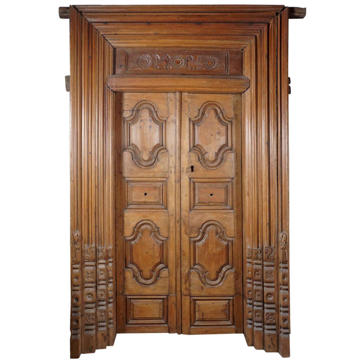 19th Century Hand Carved Teak Wood Doors