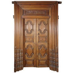 19th Century Hand-Carved Teak Wood Doors