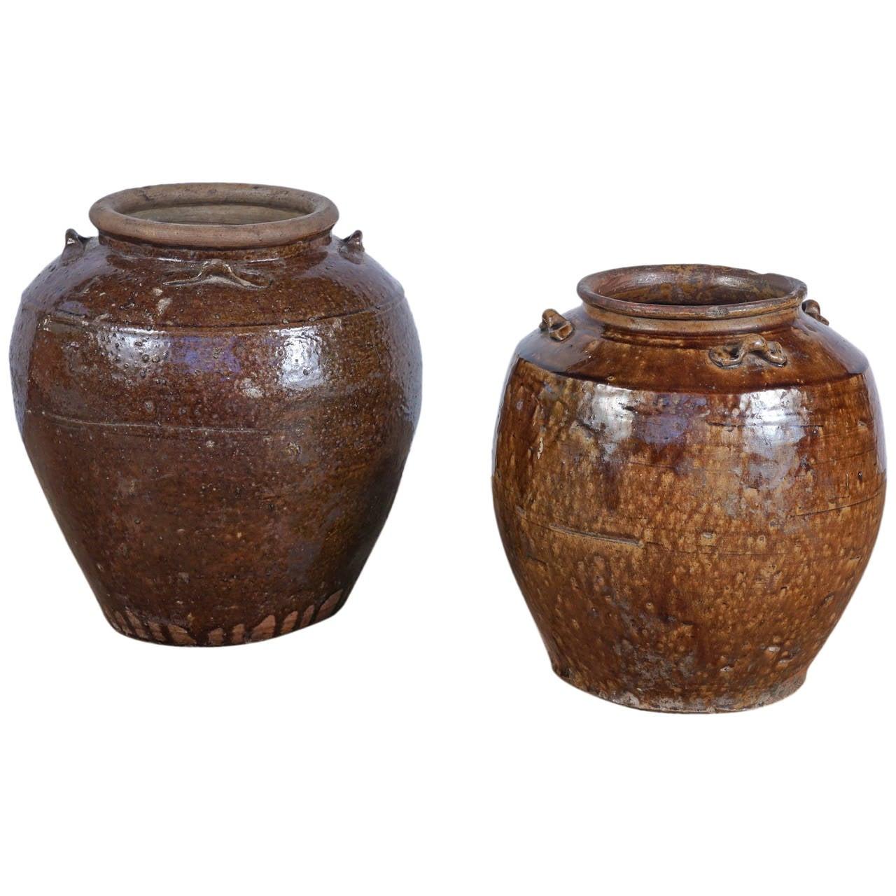 19th Century Brown Glazed Ginger Jars